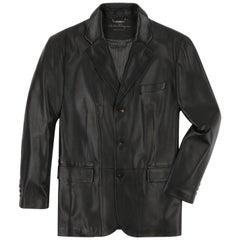SALVATORE FERRAGAMO c.2000's Men's Dark Brown 3 Button Leather Sport Coat Jacket