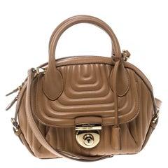 Salvatore Ferragamo Camel Quilted Leather Mini Fiamma Top Handle Bag