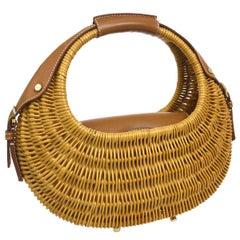 Salvatore Ferragamo Cognac Basket Weave Gold Top Handle Satchel Picnic Bag