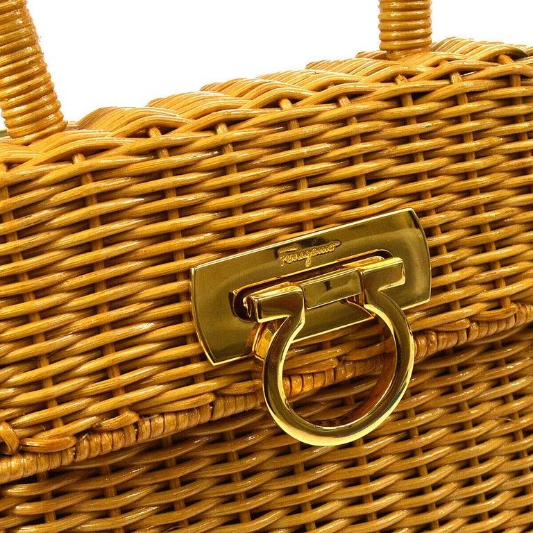 Salvatore Ferragamo Cognac Tan Wicker Gold Top Handle Evening Satchel Kelly Bag in Box   Wicker Leather Gold tone hardware Turnlock closure Woven lining Handle drop 4