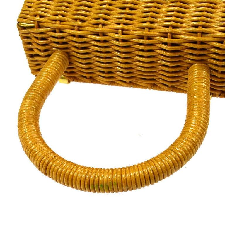 Brown Salvatore Ferragamo Cognac Tan Wicker Gold Top Handle Satchel Kelly Bag in Box  For Sale