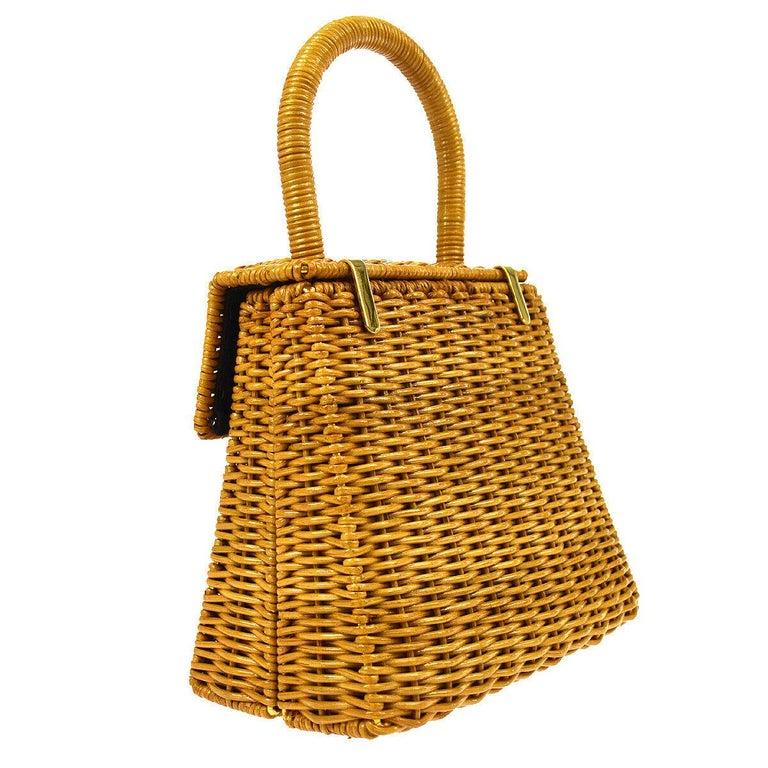 Salvatore Ferragamo Cognac Tan Wicker Gold Top Handle Satchel Kelly Bag in Box  In Good Condition For Sale In Chicago, IL
