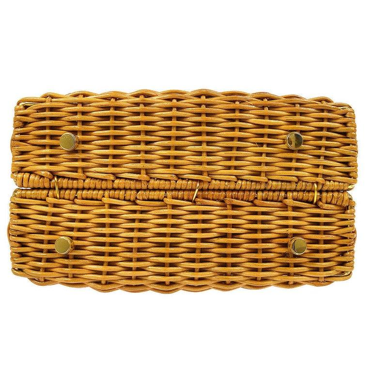 Women's Salvatore Ferragamo Cognac Tan Wicker Gold Top Handle Satchel Kelly Bag in Box  For Sale