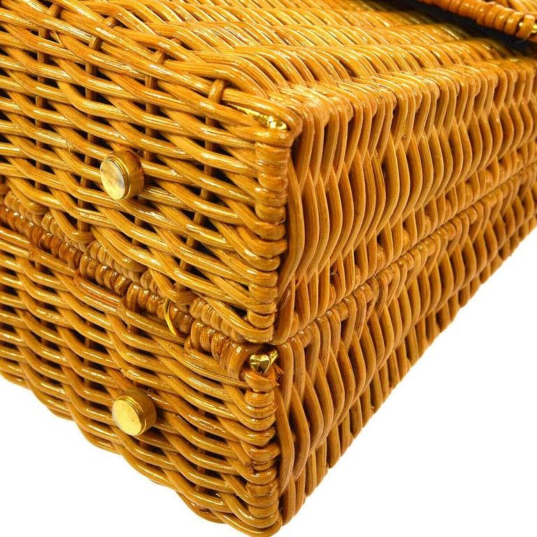 Salvatore Ferragamo Cognac Tan Wicker Gold Top Handle Satchel Kelly Bag in Box  For Sale 1