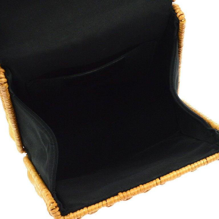 Salvatore Ferragamo Cognac Tan Wicker Gold Top Handle Satchel Kelly Bag in Box  For Sale 2