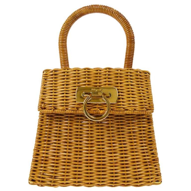 Salvatore Ferragamo Cognac Tan Wicker Gold Top Handle Satchel Kelly Bag in Box  For Sale