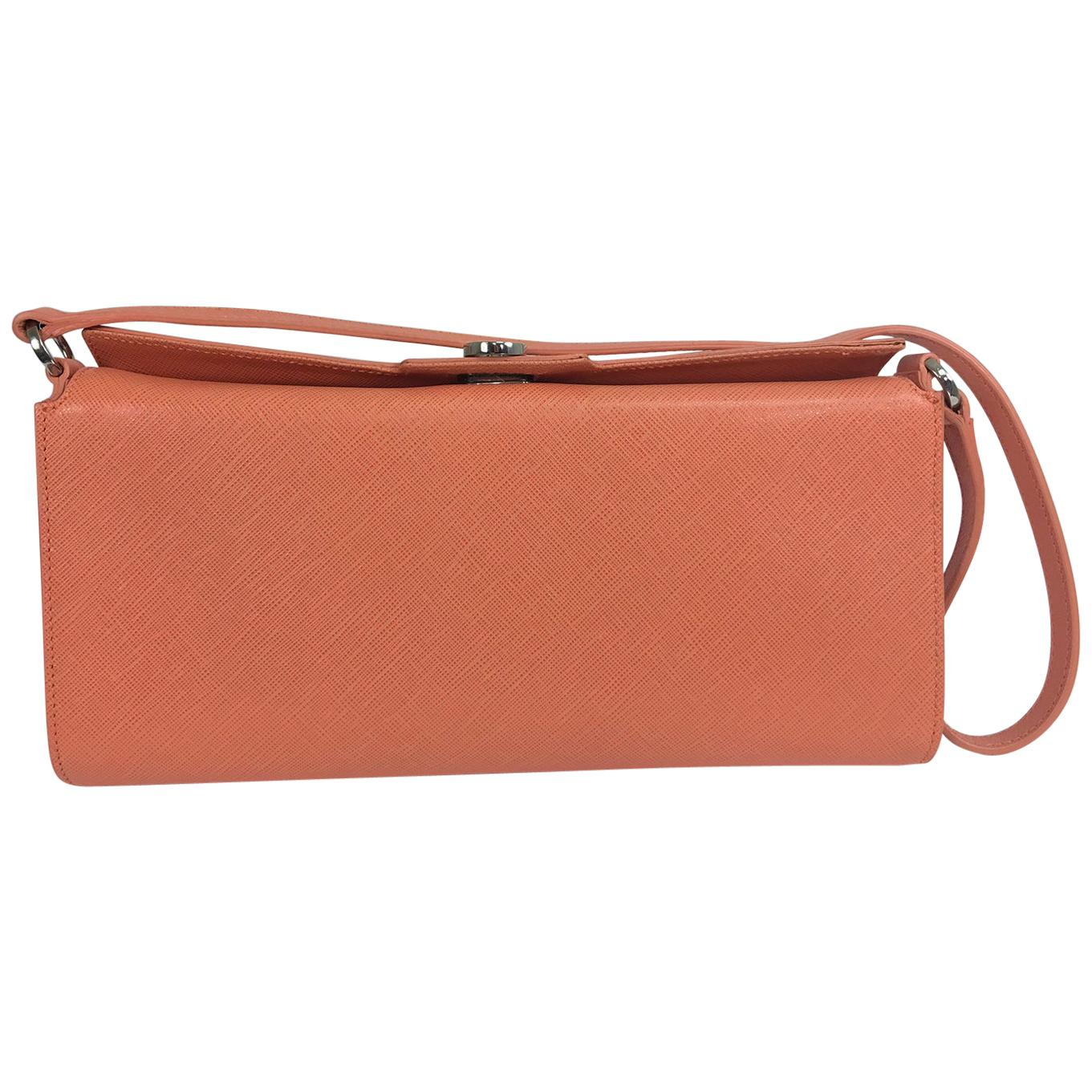 Salvatore Ferragamo Coral Saffiano Leather Silver Hardware Baguette Handbag