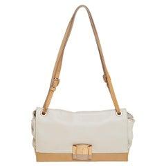 Salvatore Ferragamo Cream/Beige Patent and Leather Bow Flap Shoulder Bag