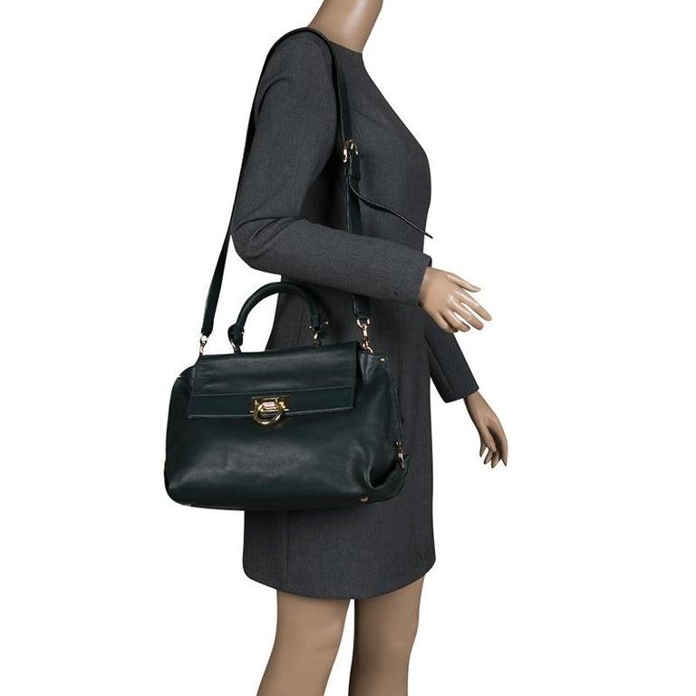 268ad16d2ccf Black Salvatore Ferragamo Dark Green Leather Medium Sofia Satchel For Sale