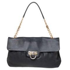 Salvatore Ferragamo Dark Grey Leather Flap Shoulder Bag