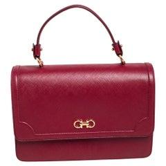 Salvatore Ferragamo Dark Red Leather Seila Top Handle Bag