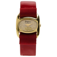 Salvatore Ferragamo Diamond Gold-Plated Stainless Steel Varina Women's Wristwatc
