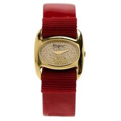 Salvatore Ferragamo Diamond Gold-Plated  Varina Women's Wristwatch 26MM