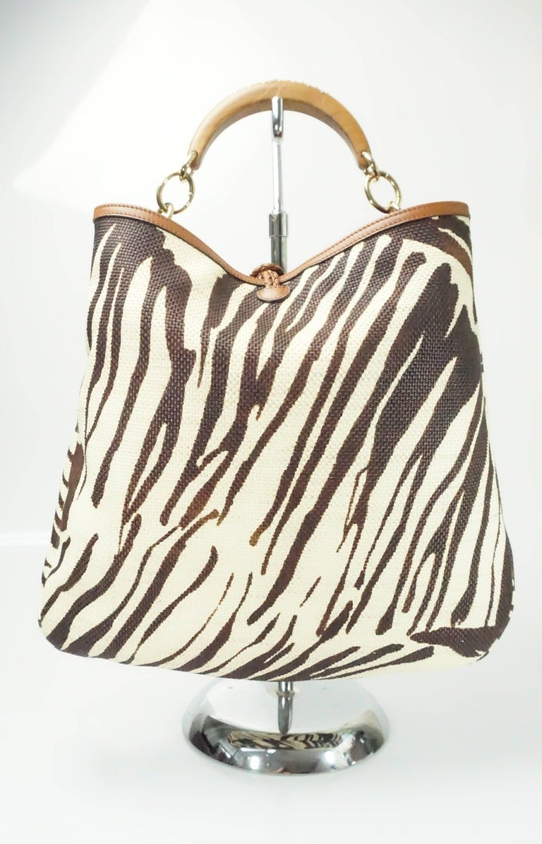 Salvatore Ferragamo Earthtone Zebra Print Raffia Wood Studded Handle Handbag 5BbAp7