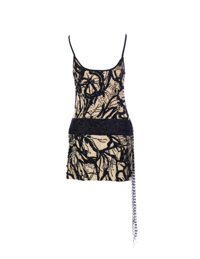 Salvatore Ferragamo Embroidered Nude & Black Embellished Sequin Dress Tunic In Excellent Condition For Sale In Switzerland, CH