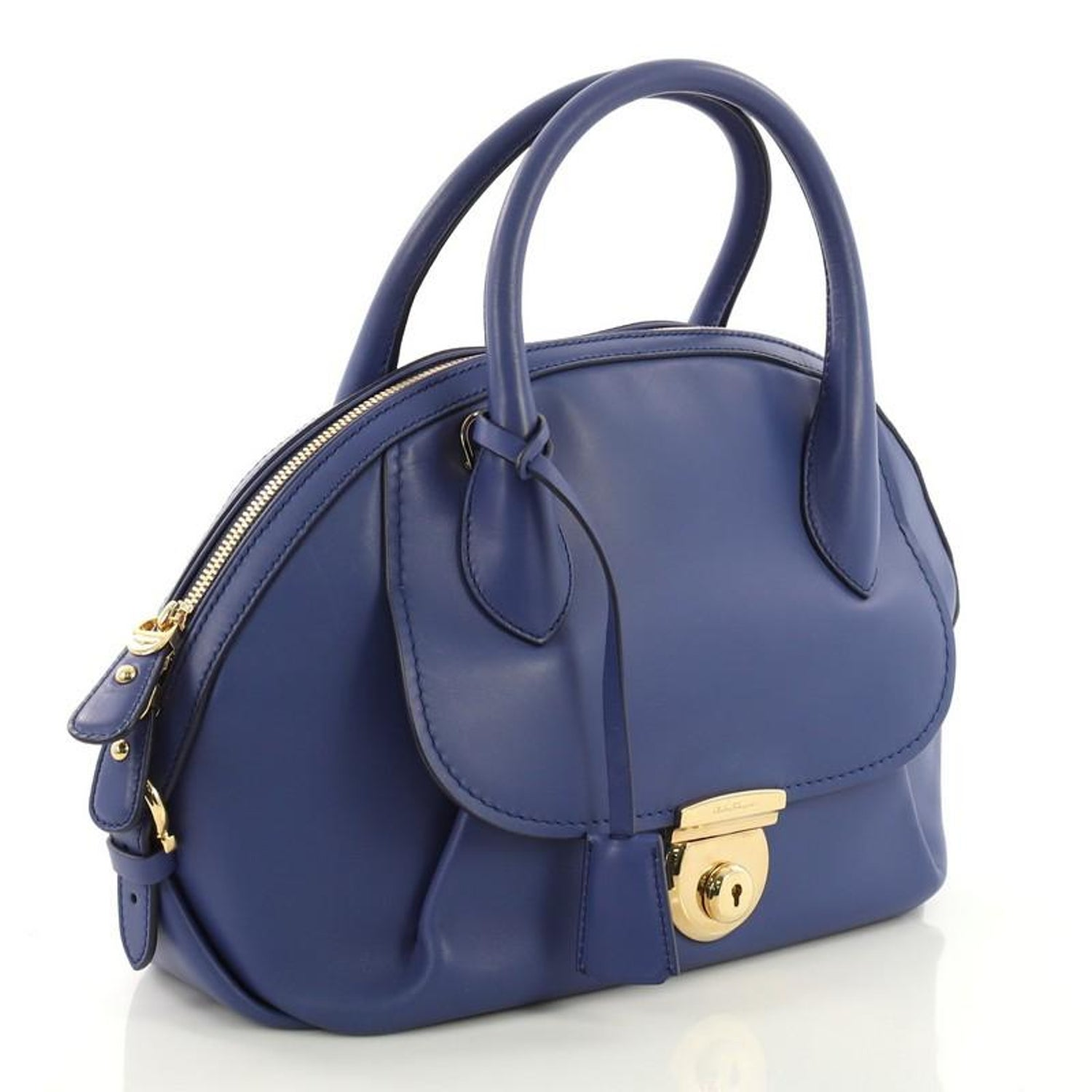 2a1eac2bc9 Salvatore Ferragamo Fiamma Satchel Leather Medium For Sale at 1stdibs