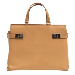 Salvatore Ferragamo Large Butterscotch Leather Top Handle Handbag