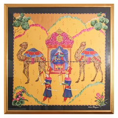 Salvatore Ferragamo Framed Silk Scarf Mughal Scene India