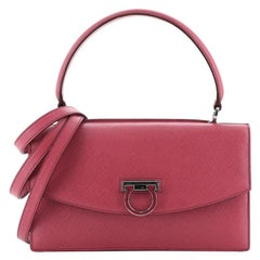 Salvatore Ferragamo Gancini Convertible Top Handle Bag Leather Medium
