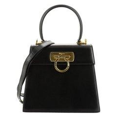 Salvatore Ferragamo Gancini Convertible Top Handle Bag Leather Mini