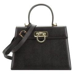 Salvatore Ferragamo Gancini Convertible Top Handle Bag Saffiano Leather
