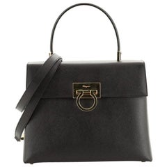 Salvatore Ferragamo Gancini Convertible Top Handle Bag Saffiano Leather M