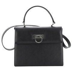 Salvatore Ferragamo Gancini Convertible Top Handle Bag Saffiano Leather Medium