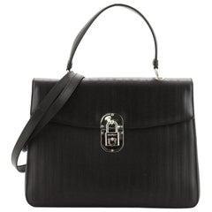 Salvatore Ferragamo Gancini Lock Top Handle Bag Textured Leather Medium
