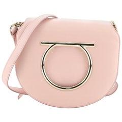 Salvatore Ferragamo Gancini Saddle Flap Bag Leather Small