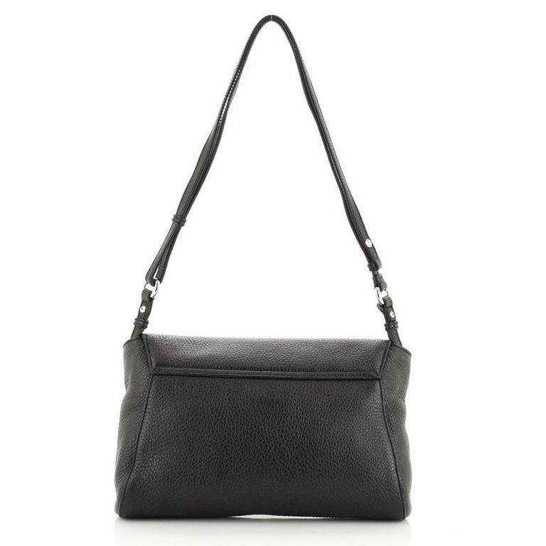 Black Salvatore Ferragamo Gancio Flap Shoulder Bag Leather Medium