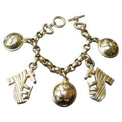 Salvatore Ferragamo Gilt Metal Shoe Themed Charm Bracelet c 1990s