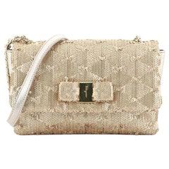 Salvatore Ferragamo Ginny Chain Crossbody Bag Leather and Paillettes Smal