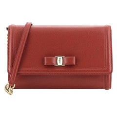 Salvatore Ferragamo Ginny Chain Wallet Saffiano Leather