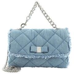 Salvatore Ferragamo Ginny Crossbody Bag Quilted Denim Medium