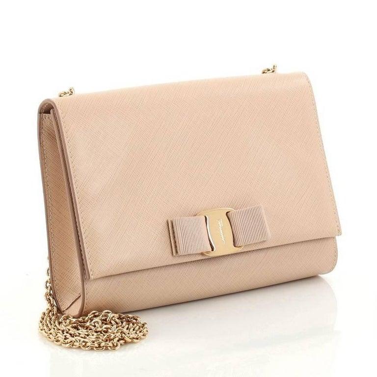 2f294ab5cc1b Beige Salvatore Ferragamo Ginny Crossbody Bag Saffiano Leather Small For  Sale