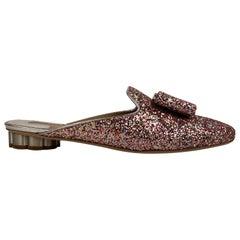 Salvatore Ferragamo Glitter Sciacca 1 Mules Shoes Size US 7.5C EU 38