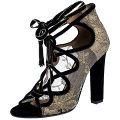 Salvatore Ferragamo Gold Lace And Black Velvet Tokara Ankle Wrap Sandal Size37.5