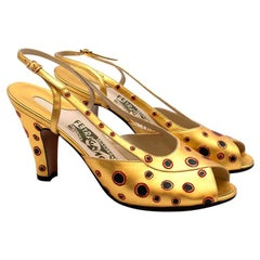 Salvatore Ferragamo Gold Leather Dotted Limited Edition 1930's Shoes Size EU 38