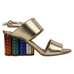 Salvatore Ferragamo Gold Leather Gavi Heeled Sandals US 7.5C EU 38
