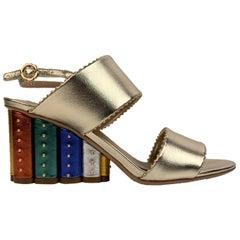 Salvatore Ferragamo Gold Leather Gavi Heeled Sandals US 7C EU 37.5