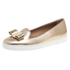 Salvatore Ferragamo Gold Leather Novello Bow Slip On Sneakers Size 36.5