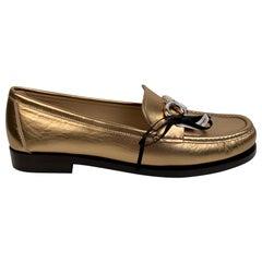 Salvatore Ferragamo Gold Leather Rolo Loafers Moccassins Size US 7C EU 37.5C