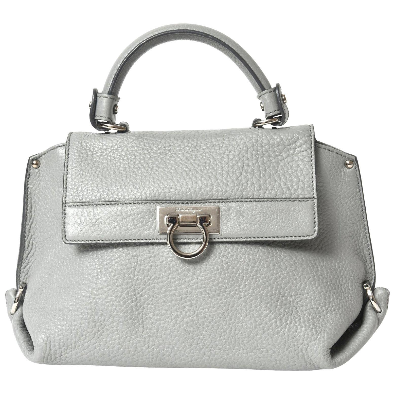 Salvatore Ferragamo Gray Leather Sofia Satchel Purse Bag