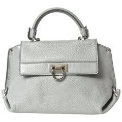 Salvatore Ferragamo Gray Leather Sofia Satchel Purse Bag