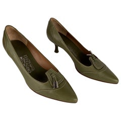 Salvatore Ferragamo Green Leather Heels Pumps Shoes Size 7,5