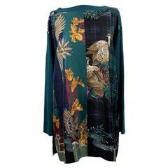 Salvatore Ferragamo Green Patchwork Silk and Wool Blouse Size L