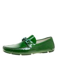 Salvatore Ferragamo Green Patent Leather Parigi Gancini Driver Loafers Size 42
