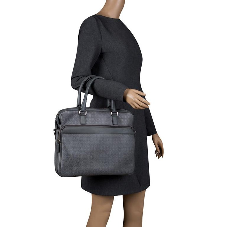 c47347c31a7b Salvatore Ferragamo Grey Embossed Leather Laptop Bag For Sale. Wrapped in  style and elegance, this laptop bag from Salvatore Ferragamo is a subtle  blend