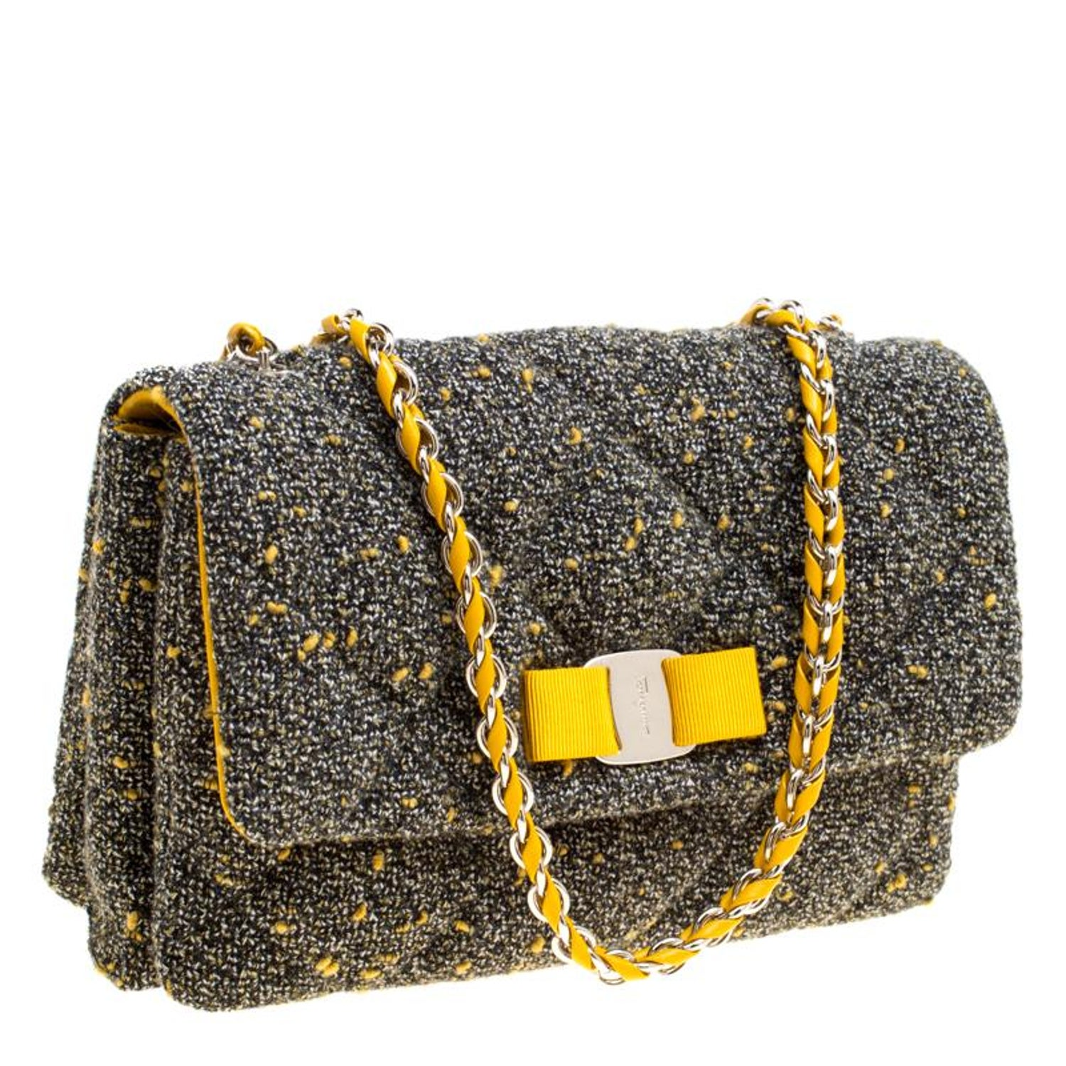 Salvatore Ferragamo Grey Quilted Tweed Gelly Shoulder Bag For Sale at  1stdibs 0d0a930334a5b