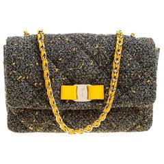 Salvatore Ferragamo Grey Quilted Tweed Gelly Shoulder Bag